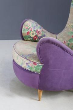 Rito Valla Pair of MidCentury armchairs attributed to Rito Valla fabric Fede Cheti purple - 1497446