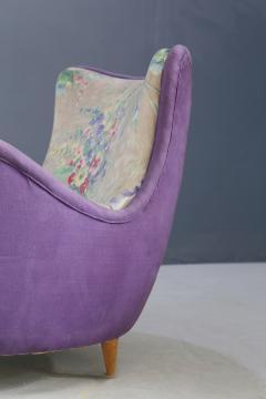 Rito Valla Pair of MidCentury armchairs attributed to Rito Valla fabric Fede Cheti purple - 1497447