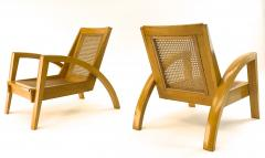 Riviera style pair of blond canned lounge chairs - 1538963