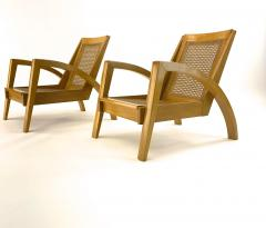 Riviera style pair of blond canned lounge chairs - 1538964