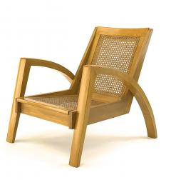 Riviera style pair of blond canned lounge chairs - 1538965