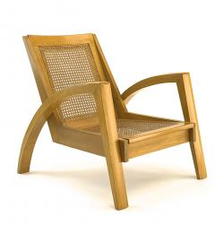 Riviera style pair of blond canned lounge chairs - 1538966