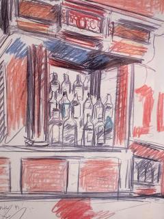 Robert De Niro Sr Robert De Niro Sr Iconic Maxwell Mahogany Bar Sketch - 1274390