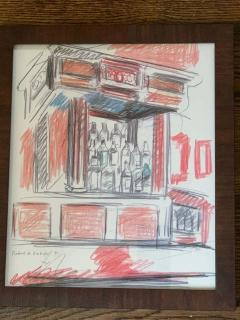 Robert De Niro Sr Robert De Niro Sr Iconic Maxwell Mahogany Bar Sketch - 1274391