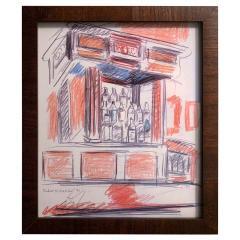 Robert De Niro Sr Robert De Niro Sr Iconic Maxwell Mahogany Bar Sketch - 1274392