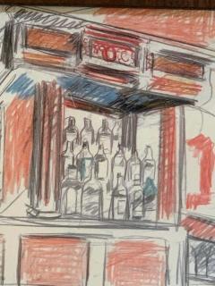 Robert De Niro Sr Robert De Niro Sr Iconic Maxwell Mahogany Bar Sketch - 1274394