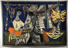 Robert Debieve Les remailleur de filets Colorful Tapestry Signed Robert Debieve  - 1783571