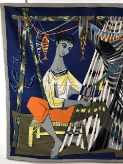 Robert Debieve Les remailleur de filets Colorful Tapestry Signed Robert Debieve  - 1783573