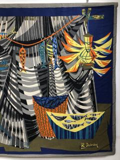 Robert Debieve Les remailleur de filets Colorful Tapestry Signed Robert Debieve  - 1783574