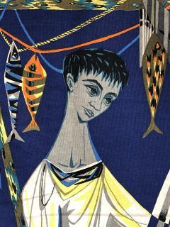 Robert Debieve Les remailleur de filets Colorful Tapestry Signed Robert Debieve  - 1783575