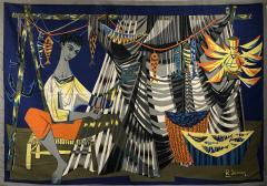 Robert Debieve Les remailleur de filets Colorful Tapestry Signed Robert Debieve  - 1783941