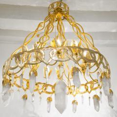 Robert Goossens Heart chandelier in bronze and rock crystal Robert Goossens circa 1970 - 1055335