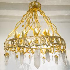 Robert Goossens Heart chandelier in bronze and rock crystal Robert Goossens circa 1970 - 1055336