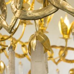 Robert Goossens Heart chandelier in bronze and rock crystal Robert Goossens circa 1970 - 1055337