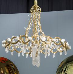 Robert Goossens Ribbon chandelier by Robert Goossens in bronze and rock crystal France 1983 - 1150989