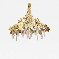 Robert Goossens Robert Goossens Water Lillies Crystal Chandelier for Crist bal Balenciaga 1970s - 1554499