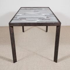 Robert Jean Cloutier Ceramic Black and White Design Low Table by Cloutier France c 1960s - 282617