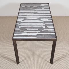 Robert Jean Cloutier Ceramic Black and White Design Low Table by Cloutier France c 1960s - 282618