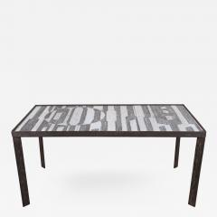 Robert Jean Cloutier Ceramic Black and White Design Low Table by Cloutier France c 1960s - 282848