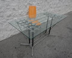 Robert Josten Robert Josten 1970s Metal Grid and Glass Desk with Wood Chair - 328105