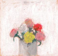 Robert M Kulicke Red Pink Yellow and White Flowers in a Vase Against a White Background 1962 - 183553