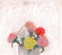 Robert M Kulicke Red Pink Yellow and White Flowers in a Vase Against a White Background 1962 - 183554