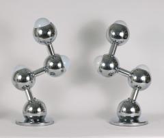 Robert Sonneman Pair of Chrome Molecule Lamps c 1970 - 1218523