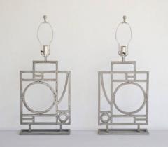 Robert Sonneman Pair of Postmodern Geometrical Form Table Lamps - 635289