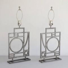Robert Sonneman Pair of Postmodern Geometrical Form Table Lamps - 635290