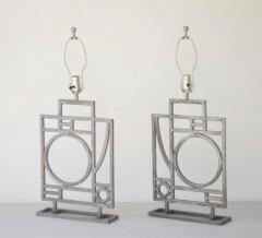 Robert Sonneman Pair of Postmodern Geometrical Form Table Lamps - 635291