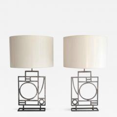 Robert Sonneman Pair of Postmodern Geometrical Form Table Lamps - 635682