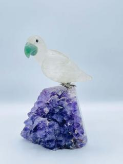 Rock Crystal and Amethyst Geode Sculpture of A Carved Parrot Bird - 2137879