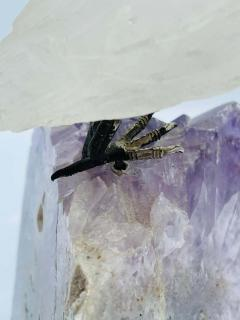 Rock Crystal and Amethyst Geode Sculpture of A Carved Parrot Bird - 2137882