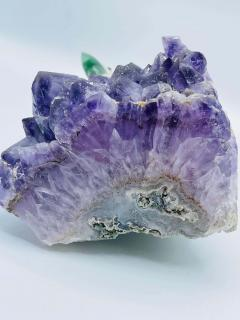 Rock Crystal and Amethyst Geode Sculpture of A Carved Parrot Bird - 2137885