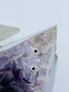 Rock Crystal and Amethyst Geode Sculpture of A Carved Parrot Bird - 2137887
