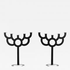 Roderick Vos Moooi Pair of Postmodern Roderick Vos for Moooi Big Bold Floor Black Metal Candelabras - 615327