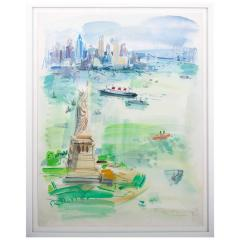 Roger Bertin 1960s Watercolour Vista Of New York City By Roger Bertin - 1476637