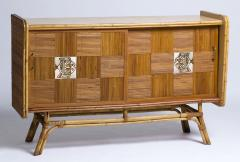 Roger Capron 1950 rattan sideboard with two sliding doors adorned with Roger Capron tiles - 1211199