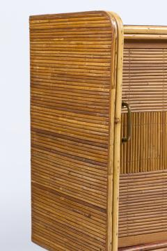 Roger Capron 1950 rattan sideboard with two sliding doors adorned with Roger Capron tiles - 1211200