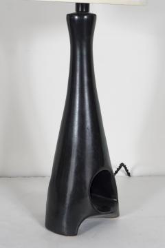 Roger Capron A Rare Roger Caproin Black Sculptural Ceramic Table Lamp - 164346