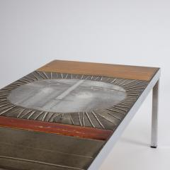 Roger Capron A large cocktail table Table au soleil steel ceramic tiles - 1648420