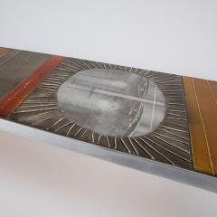 Roger Capron A large cocktail table Table au soleil steel ceramic tiles - 1648426