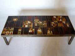 Roger Capron French 1960s Metal Base and Ceramic Top Coffee Table by Roger Capron - 430985
