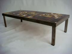 Roger Capron French 1960s Metal Base and Ceramic Top Coffee Table by Roger Capron - 430986
