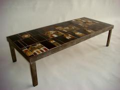 Roger Capron French 1960s Metal Base and Ceramic Top Coffee Table by Roger Capron - 430988