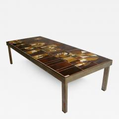 Roger Capron French 1960s Metal Base and Ceramic Top Coffee Table by Roger Capron - 432171