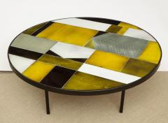 Roger Capron Low round table with ceramic top - 1131067