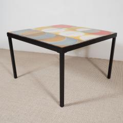 Roger Capron Red Yellow And Brown Tile Top Coffee Table France C 1950    282620