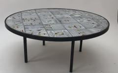 Roger Capron Roger Capron rare naive figuratif round coffee table - 1033561