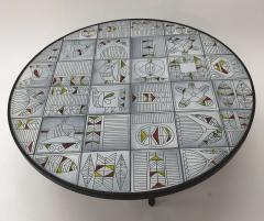 Roger Capron Roger Capron rare naive figuratif round coffee table - 1033565
